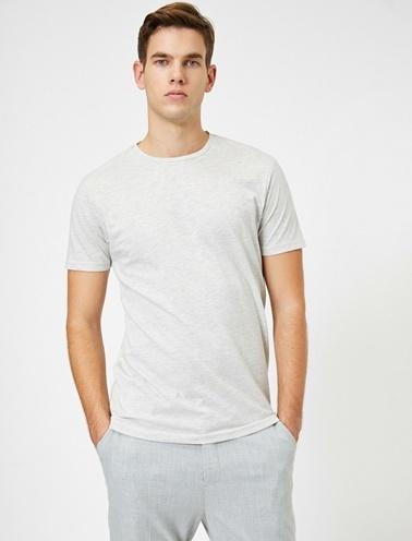 Koton Bisiklet Yaka %100 Pamuk Slim Fit Basic T-Shirt Gri